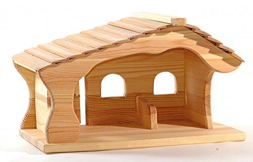 Ostheimer 5550113 Weihnachtskrippe, Krippenstall aus Holz Maße 47x30x30 cm