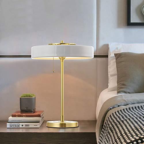 Hancoc Lámpara de mesita de noche de estilo clásico nórdico, estilo retro, decoración de mesa de estudio, 35 x 48 cm (color: blanco)