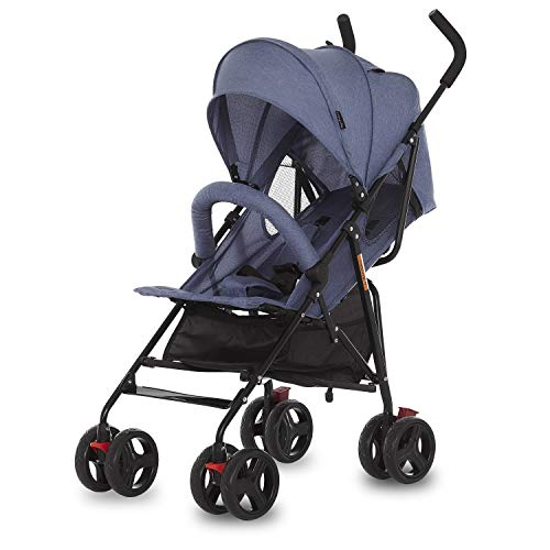 Dream On Me, Vista Moonwalk Stroller Light Weight Infant Stroller with Compact Fold Multi-Position Recline Canopy with Sun Visor Perfect for Traveling Theme Parks, Blue