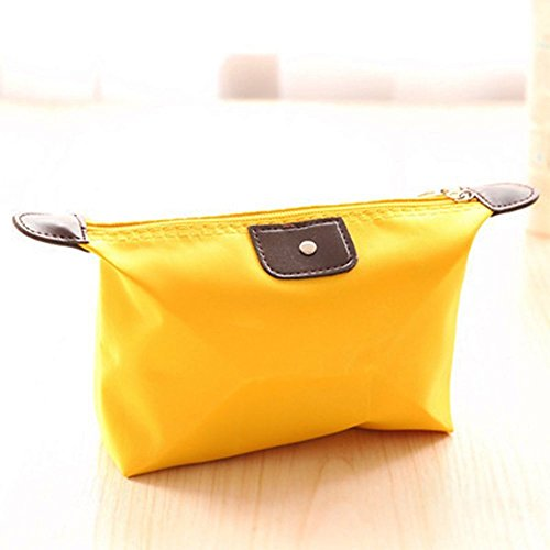 Jooks Dumpling Shape Makeup Handbag Travel Handbag Organiser Cosmetic Travel Pocket Liner Insert Purse Large Liner Bag Pouch (Yellow)