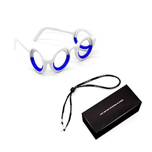 Anti-Motion Sickness Smart Glasses, Raised Airsick Sickness Seasickness Lensless Glasses for Sport Travel Gaming, No Lens Liquid Glasses for Adults Kid