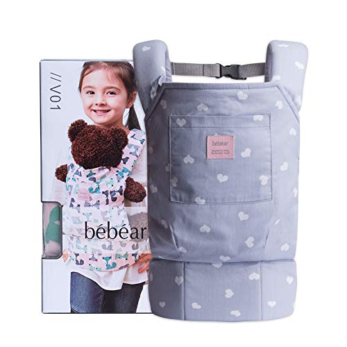 Bebamour Baby Doll Carrier for Kids Front and Back Carrier Original Cotton Baby Carrier for Doll for Boys & Girls(Grey Heart)