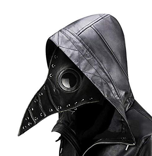 Duduta Leather Plague Doctor Mask Steampunk Bird Mask Long Beak Renaissance Halloween Costume Mask Black