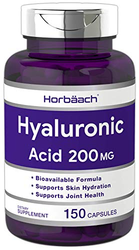 Hyaluronic Acid Capsules   200 MG   150 Count   Supports Joint and Skin Hydration   Non-GMO and Gluten Free Supplement   by Horbaach