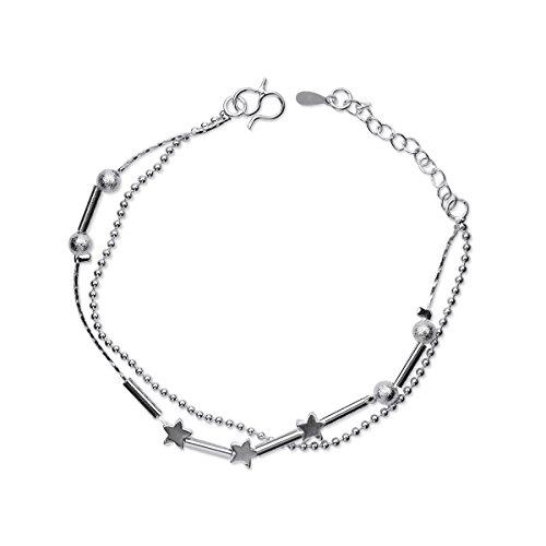 Zierliche Schmuck Perlen Charm Armband in 925 Sterling Silber kleine Stern Handketten mit Geschenkbox