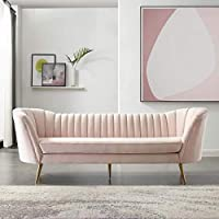 Modway Opportunity Channel Tufted Curved Back Upholstered Performance Velvet Sofa (Pink)