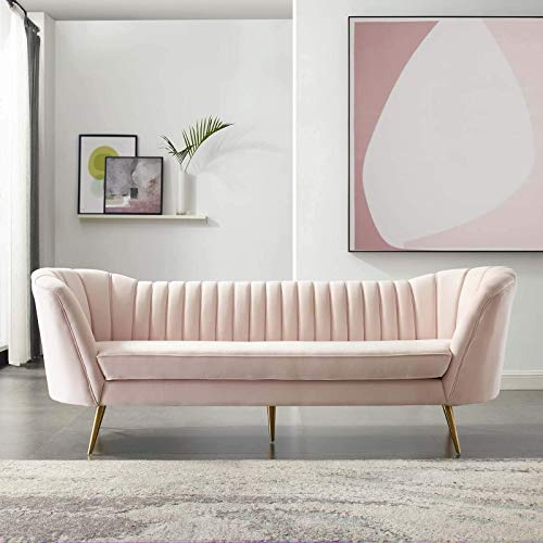 Modway Opportunity Channel Tufted Curved Back Upholstered Performance Velvet Sofa in Pink