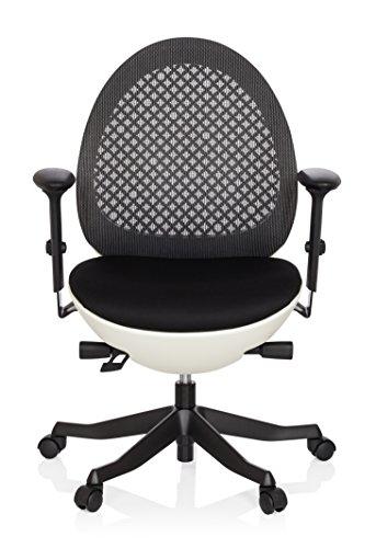 hjh OFFICE 640100 Bürostuhl CORVENT Netz-Stoff Schwarz/Weiß Designer-Sessel Höhenverstellbar Armlehnen Netzrücken