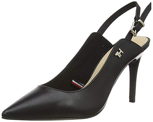 Tommy Hilfiger Damen Feminine Leather HIGH Sling Back Pumps, Schwarz (Black Bds), 39 EU