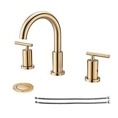 NEWATER 2-Handle 8 inch Widespread Three Hole Bathroom Sink Faucet with Pop Up Drain & Supply Lines Basin Faucet Mixer Tap ?Polished Chrome?CWF030-C?