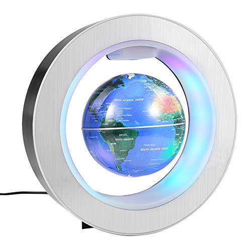 ZJchao Globo Levitante Magnético, Globo Flotante, Globo de Esferas de Mapa del Mundo de Levitación Magnética, Decoración de Regalo (4  + Azul)
