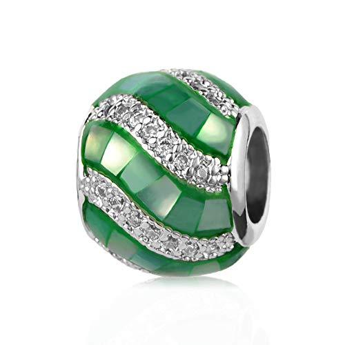 MiniJewelry Women Glass Murano Charm for Bracelets Crystal Candy Bead fits Pandora Charms Bracelets, Green