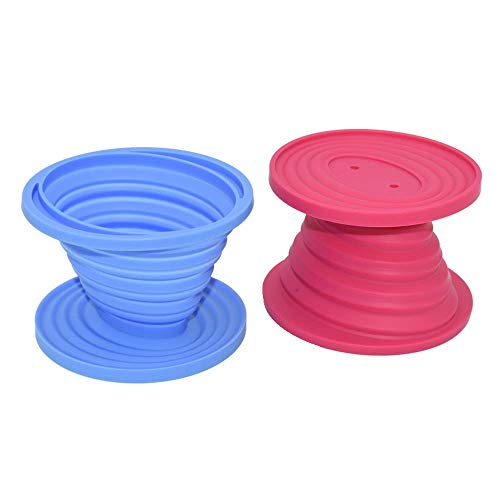 (2 pcs) For Him & Her - Collapsible Silicone Pour Over Coffee Dripper & Filter Cone. Easy to Clean & Use. Unbreakable, Must Have for Home, Travel & Camping Use