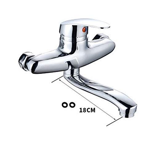 DHKJ Kupfer Wand Küchenarmatur Warmes Und Kaltes Wasser Wasserhahn Waschbecken Mopp Pool Rotierenden Wasserhahn