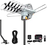Outdoor Amplified Digital HDTV Antenna - 150 Mile Motorized 360 Degree Rotation- Support UHF/VHF 4K 1080P with Mounting Pole & 33 ft RG6 Coax Cable