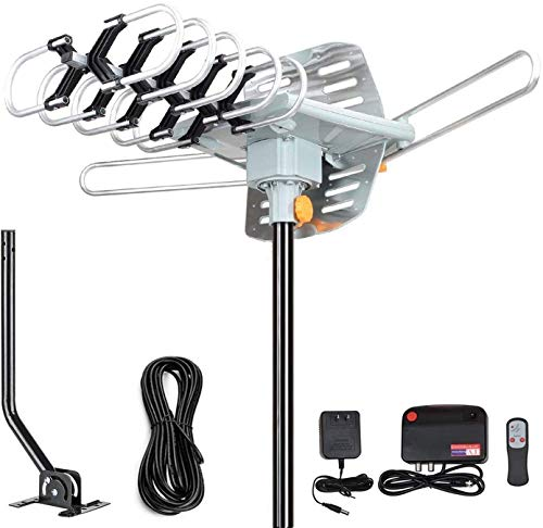 Outdoor Antenna - Amplified Digital HDTV Antenna 150 Miles Range 360 Degree Rotation- Support UHF/VHF 4K 1080P with Mounting Pole & 33 ft RG6 Coax Cable