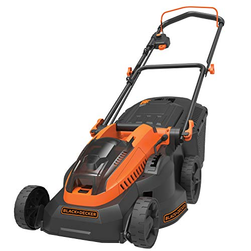 BLACK+DECKER CLM3825L2-QW - Cortacésped inalámbrico (6 alturas regulables 20, 30, 40, 50, 60 y 70 mm, 2 baterías, 36 V, naranja, 38 cm)