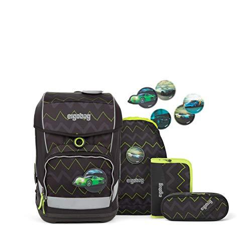 Ergobag cubo Light Drunter und DrüBär, ergonomischer Schulrucksack, extra leicht, Set 6-teilig, 19 Liter, 780 g, Schwarz Grün Zickzack