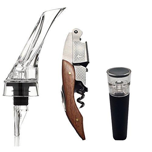 Waiters Corkscrew, Wine Aerator Pourer, and Bottle Vacuum Stopper Gift Set