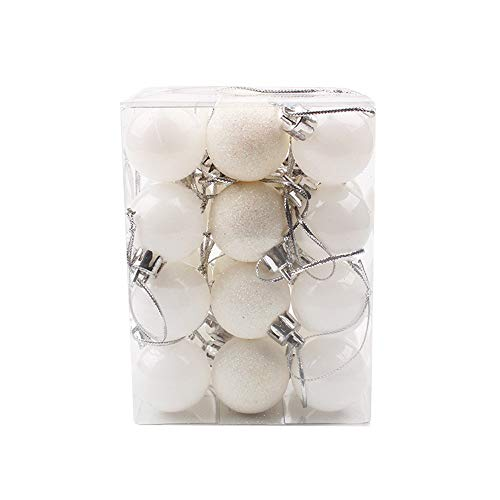 DWQuee 24 Palle di Natale per Albero di Natale - infrangibili, Grandi Palline da Appendere per Feste di Nozze, plastica, Bianco, 30 mm