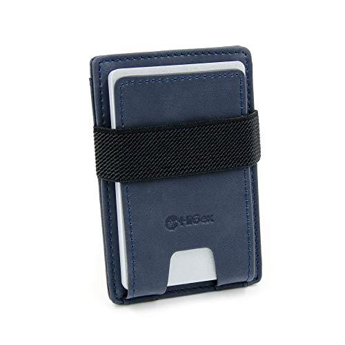 HiGex ® Porta Carte di Credito Compatto Sottile | Mini Portafoglio Schermato RFID | 3 Scomparti | Accessorio Uomo Piccolo in Pelle PU Premium | Porta Tessere Schede Patente Badge + Tasca Banconote