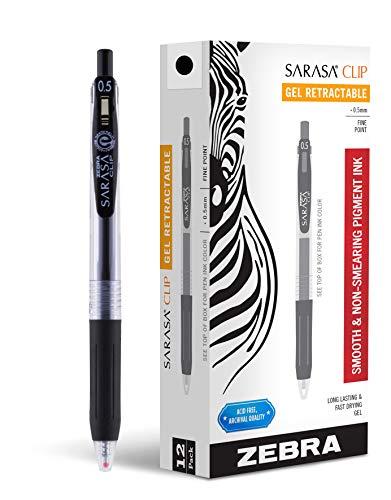 Zebra Pen Sarasa Clip Retractable Gel Ink Pens, Fine Point, 0.5mm, Black Ink, 12 Pack