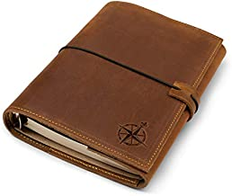 """Small Refillable Leather Binder Journal - Small 6 Ring Binder Planner with Pockets - Convenient Hand-Crafted Genuine Leather Folio with Mixed Loose Leaf Pages. Only 4-1/8 x 5-7/8"""" or 10.5 x 15cm"""