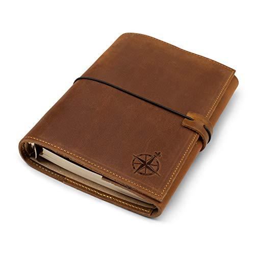Nachfüllbares A6-Lederbuch mit 6 Ringbüchern und Taschen, handgefertigtes Echtleder, Verschiedene lose Blätter - A6