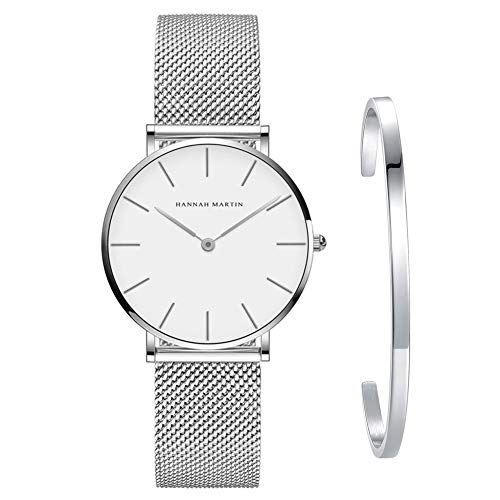 Kubagom Damen Uhren Analog Quarz Edelstahl Wasserdicht Mesh Ultradünne Set mit Armreif (Weiß Oberfläche,Silber Armband,Silber Armreif)