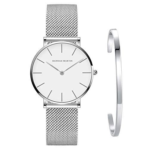 Kubagom Reloj de Cuarzo Pulsera para Mujer Banda Malla Acero Inoxidable Ultra Delgado (Blanco, Banda de Plateado,Pulsera de Plateado)