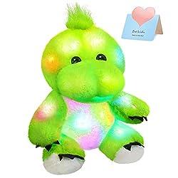 2. Bstaofy 11″ Light Up Glow Green T-Rex Dinosaur Plush
