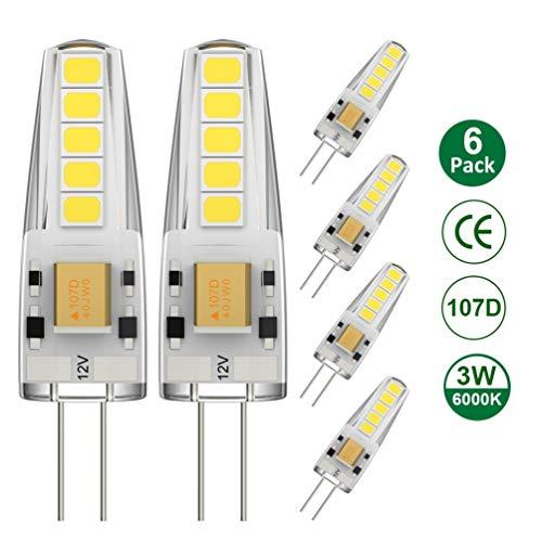 Ralbay G4 LED Kaltweiß 6000K, G4 LED Lampe AC/DC12V Lampe 3W Ersatzt für 30 Watt Hohe CRI 80Ra 300lm Hell Super Mini Birne Leuchtmittel Stiftsockel 360° Abstrahlwinkel Nicht Dimmbar 6er Pack