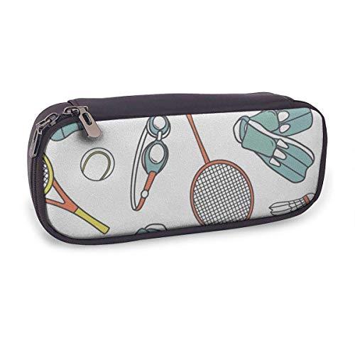 Pencil Case Pen Bag Bag Leder Langlebige Schüler mit doppeltem Reißverschluss Halter Box Organizer für Schulbüro Geschenk Badminton Malerei