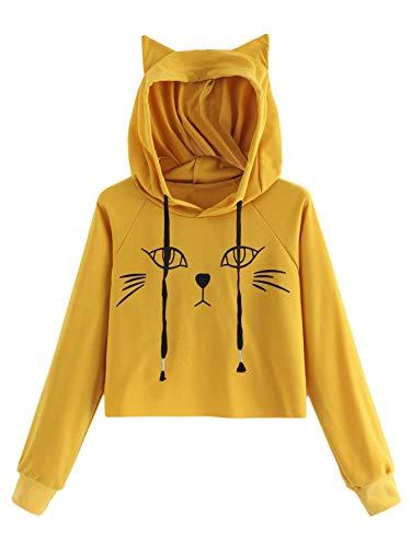 SweatyRocks Women's Long Sleeve Hoodie Crop Top Cat Print Pullover Sweatshirt Yellow#1 M