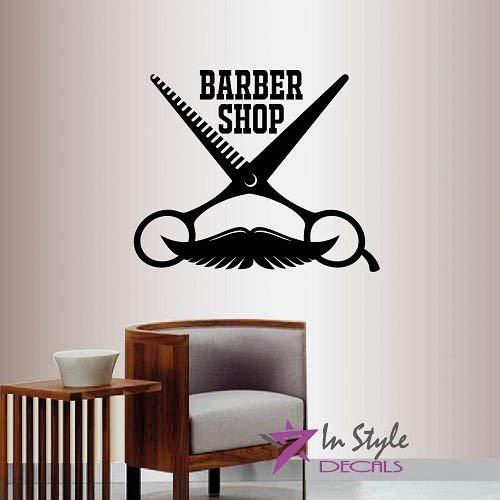Lplpol Wall Vinyl Decal Home Decor Art Sticker Barber Shop Teken Schaar Snor Vintage Embleem Symbool Kapsel Salon Room Verwijderbare Stijlvolle Mural Uniek Ontwerp 2159