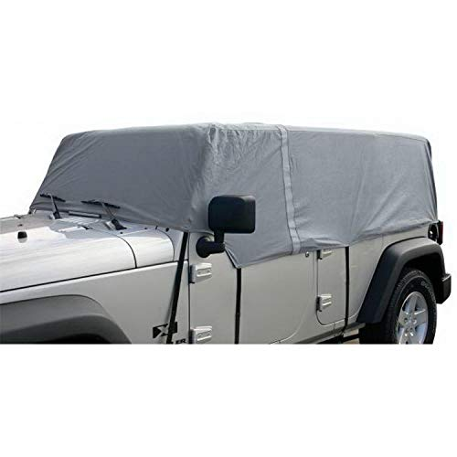 RAMPAGE PRODUCTS 1264 Grey 4 Layer Breathable Car Cover (fits Over Installed top) for 2007-2018 Jeep Wrangler Unlimited 4-Door