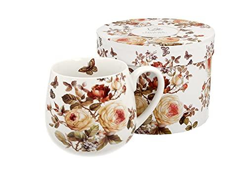 Duo Tee-Tasse Kaffeetasse Kaffeebecher Teebecher Variante OHNE Sieb und Deckel Porzellan Teetasse bauchig Geschenk-Tasse Blumen Cup 400 ml Geschenkbox Becher (Zahra OHNE Filter)