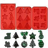 Stampi in silicone di Natale, 3 pezzi Stampi per dolci Stampo per caramelle al cioccolato Albero di Natale Stampo per dolci in silicone Stampo per sapone Stampo per fondente per dolci per feste