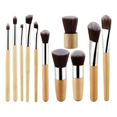 Foolzy 11Pcs Makeup Brush Set Professional Kabuki Foundation Blending Blush Concealer Eye Face Liquid Powder Cream Cosmetics Brushes Kit