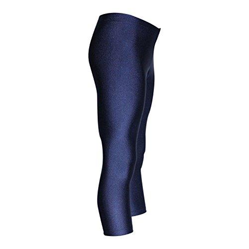 3/4 Caprihose Turnhose aus Lycra mit Glanz Effekt in Dunkelblau oder Schwarz Farbe Dunkelblau, Größe 128