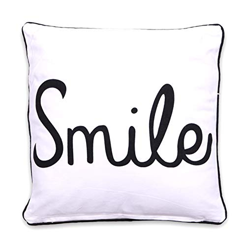 Homevibes Cojin con Frases, Cojin de 40 x 40 cm con Frase, Cojin con Estampado, Cojín con Ribete para Sofa, Dormitorio o Comedor, Varios Diseños (Smile)