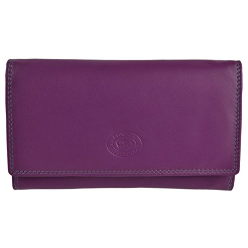 Ladies Long Flap Over Leather Purse/Wallet by London Leather Goods 4 Colours (Sunset)