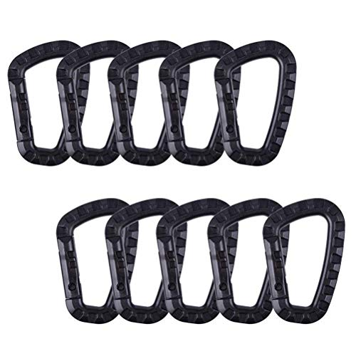Jerbro 10 mosquetones tácticos de 80 mm en forma de D, gancho de plástico de alta resistencia, llavero para mochila/llavero (negro)