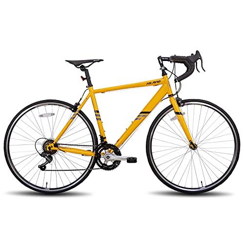 Hiland Bicicleta de carretera 700c de acero City Commuter con 14 velocidades, color amarillo