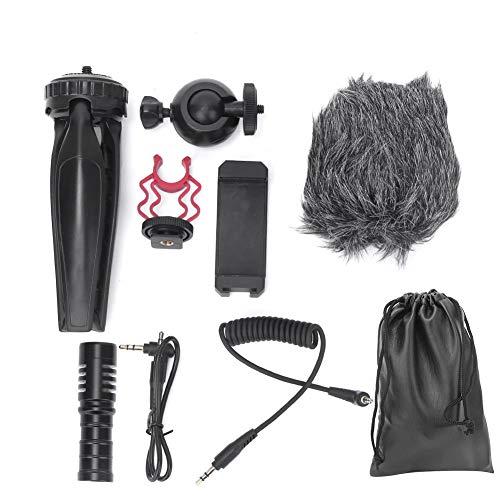 Duokon microfoon condensator, audio video record interview condensator microfoon met statief telefoonclip 3,5 mm kabels