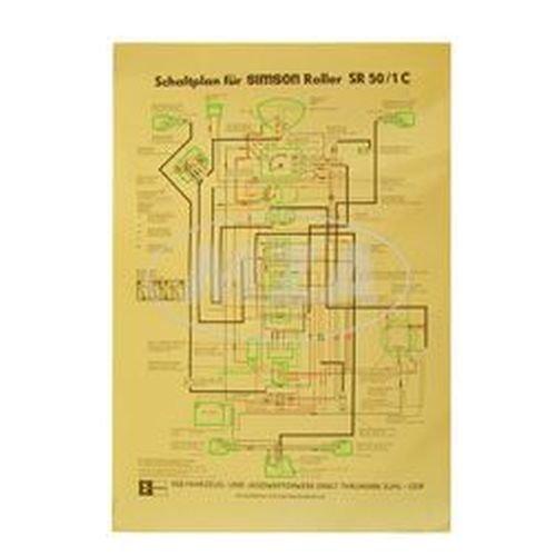 Schaltplan Farbposter (40x60cm) SR50/1 C (12V, ohne E-Start) (beidseitig Glanzcello, schmutzabweisend)