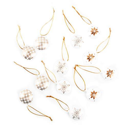 Logbuch-Verlag - 12 piccoli ciondoli in metallo con varie forme natalizie e cordino da appendere, colore: Bianco/Oro