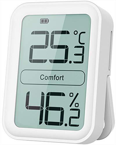 BFOUR Digitales Thermo-Hygrometer Thermometer Hygrometer innen Temperatur und Luftfeuchtigkeitmessgerät mit-Indikator für Raumklimakontrolle, weiß