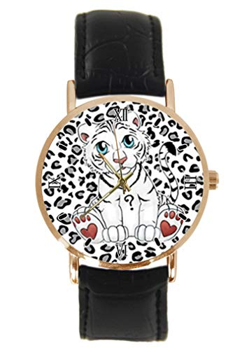 Reloj de Pulsera con diseño de Tigre Blanco para bebé, clásico, Unisex, analógico, de Cuarzo, Caja de Acero Inoxidable, Correa de Cuero