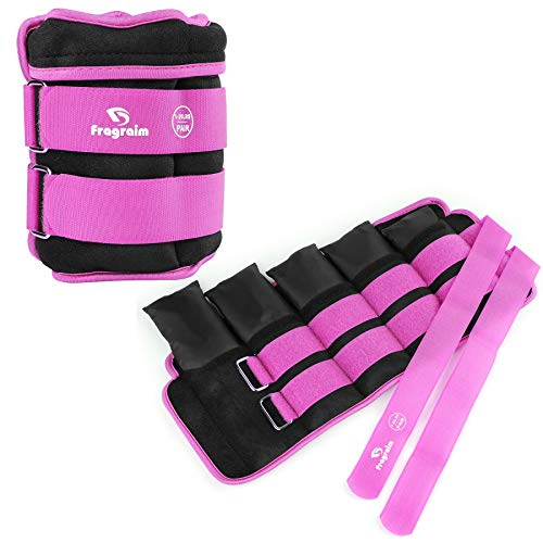 Fragraim Adjustable Ankle Weights 1-12 LBS Pair with Removable Weight for Jogging, Gymnastics, Aerobics, Physical Therapy, Resistance Training|Each 1.2-6 lbs, Total 12LBS, Purple